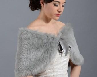 Sale - Silver faux fur bridal wrap shrug stole shawl Cape C002-Silver - was 49.99