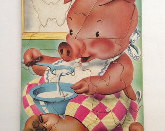 Pig Puzzle, 13 Large Pieces, by Saalfield Publishing Co., Pre School, Nursery Wall Art, circa late 1940's early 1950s