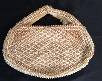 Vintage 1950's Pretty Pink and White Beaded Bag