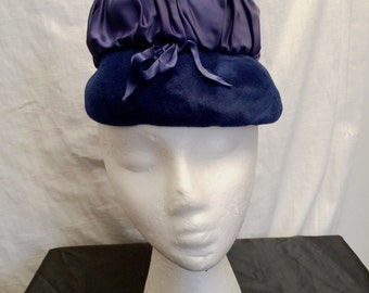 Vintage 1950's Fifi Blue Velour and Satin Lamp Hat with Bow