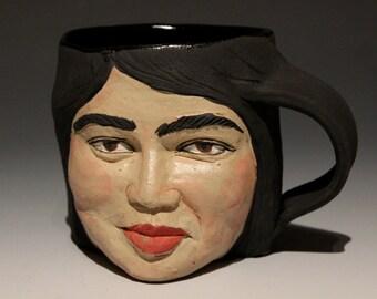 Custom Portrait Sculpture Mug, Face Vessel Art Cup
