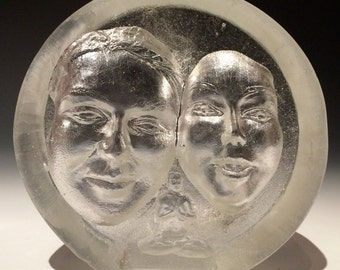 Cast Glass Sculpture, Faces with Buddha Woman in Full Lotus Posture, Metta Meditation Glass Art Suncatcher Prism