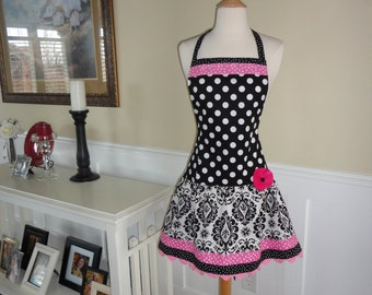 Bubble Gum Pink Damask ~ Ellie Style ~ Retro Modern Women's Apron ~ 4RetroSisters