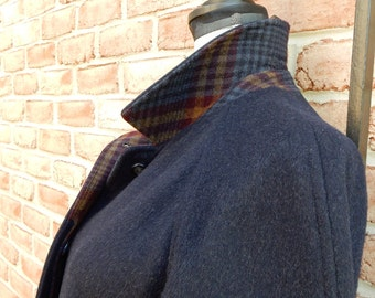 1980s Gleneagles Midi Coat Wonderfully Warm Winter Outerwear Rich Navy Blue Virgin Wool Mohair Blend Gorgeous Plaid Collar Pop and Lining
