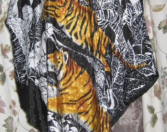 Tiger Print Caftan or Tunic Scarf Top Blouse - Party - Costume 80s Vintage