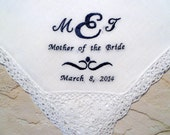 Special Listing for Katie Mother of the Bride MONOGRAM Wedding Hankerchief-Personalized Cotton Lace Hanky for your Special Occassion