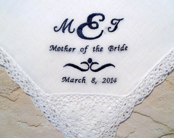 Mother of the Bride or Mother of the Groom MONOGRAM Wedding Hankerchief-Personalized Cotton Lace Hanky for your Special Occassion