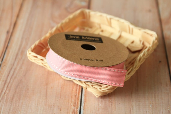 SALMON Pink Stitched Grossgrain woven ribbon reel 3m