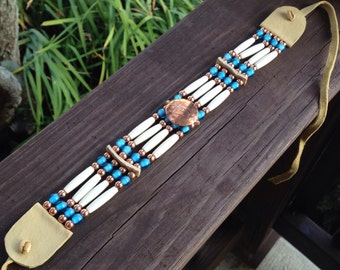 Native American style choker, copper thunderbird button, bone choker, turquoise white heart beads, pow wow regalia, red brass