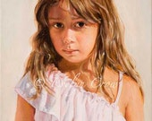 Oil Painting - Custom Portraits from Your Photos - Child Portrait - LARGER format  22x18 inches (Half Body)