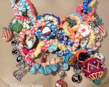 50% Sale - This Month Only - EXQUISITE NECKLACE/BIB - Wearable Fiber Art Jewelry, Contemporary & Romantic, Adjustable Length, Richly Jeweled