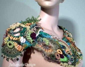 On Sale - This Month Only - EPAULETTED EMERALD SHOULDERETTE - Textile/Fiber Art, Richly Embellished, Freeform Crocheted