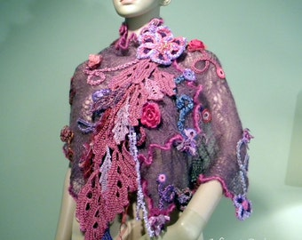 Sale - BURGUNDY SYMPHONY NECKPIECE - Shawl/Caplet/Stole, Wearable Fiber Art, Detachable Handmade Brooch, Freeform Crocheted Embellishments