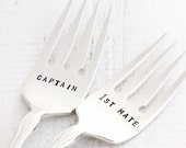 Nautical Wedding Anchor Captain and First Mate Fork Set,  Silver Plate Nautical Forks,  Alouett