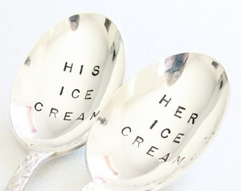 """His and Hers """"Stamped Silverware"""", Silver Plate Ice Cream Spoons - Couples Gifts, Fall Wedding Gift Ideas - Leaves pattern"""