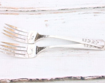 Mr. & Mrs. fork set - rose pattern