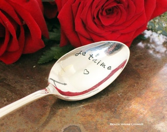 I Love You French  Je T'aime stamped spoon Valentine's Day Spoons with Sayings