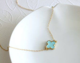 Lucky Clover Necklace - Clover Necklace - Simple Necklace - Celebrity Inspired - Everyday Jewelry - Quatrefoil Necklace - Everyday Necklace