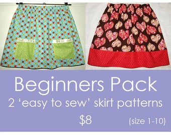 Easy skirt pattern, Childrens sewing pattern, Girls sewing pattern, pdf sewing pattern - 2 'Easy to Sew' skirt patterns (size 1 to 10)