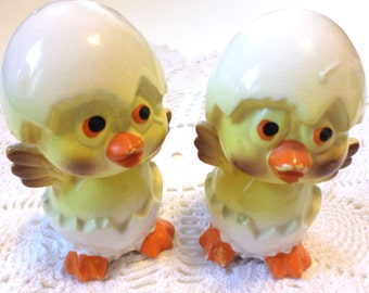 Vintage Hatching Chicks Salt and Pepper Shakers