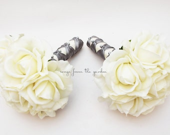 Silver White Rose Wedding Flower Package Bridesmaid Bouquet Real Touch Roses - Customize for Your Wedding Colors