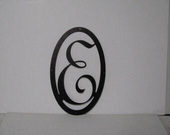 Metal Initial in Oval (W or M) Large Custom Wall Art