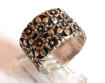 Sterling Silver Forget Me Not Flowers Floral Wide Band Ring Signed Uncas