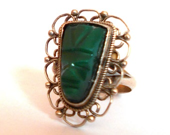 Vintage Sterling Silver Carved Face Mask Ring Green Onyx Mexico