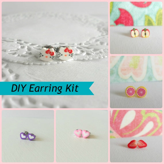 DIY Polymer Clay Childrens Earring Kit, Make Your Own Mini Polymer Clay Earrings, Polymer Clay Slices with Earring Posts and E600 Glue