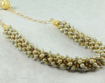 Golden Czech Glass Drops Kumihimo Necklace, Statement Necklace