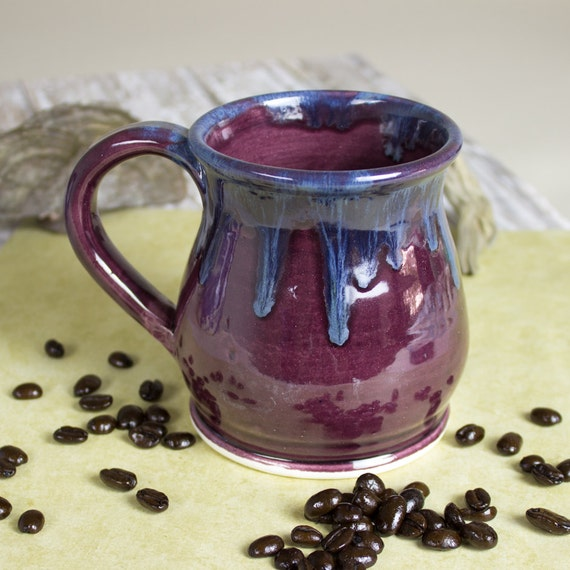 Ceramic Coffee mug, Colorful BlueRoomPottery Round belly pottery tea cup Eggplant Purple handmade Kitchen gift for her