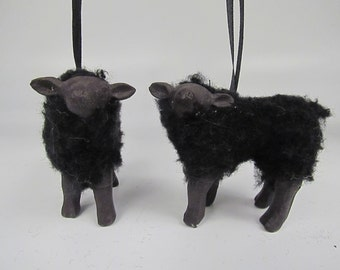 Handcrafted Porcelain and Wool Black Lamb Ornament