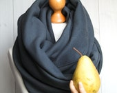 CHUNKY Infinity Scarf, winter infinity scarf, CHARCOAL knitted jersey infinity scarf