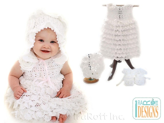 Crochet Baby Dress And Bonnet Pattern : PATTERN Christening Gown Baby Dress Booties Beret and Bonnet