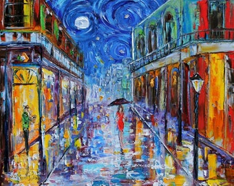 Fine art Print from image of oil painting New Orleans Starry Night Moon - print by Karen Tarlton