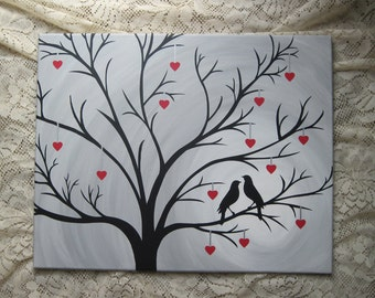 Tree Silhouette Love Birds Hearts, Custom Painted Canvas Art, Hand Painted Quote, Canvas Wall Art, Canvas Wall Quotes, Acrylic Painting