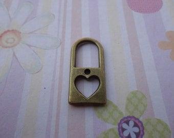10pcs antique bronze heart lock findings 25mmx12mm