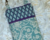 Placid Blue and Purple Floral or Yellow Phone Case with Zipper Closure and Wristlet iPhone 4 5 6 iPhone Plus Samsung Galaxy LG Motorola