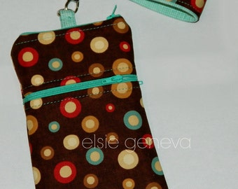 Brown Dots Phone Case with Wristlet or Shoulder Strap - Aqua Red - iPhone 4 5 6 Plus Note or Black Pink Purple Lime Option