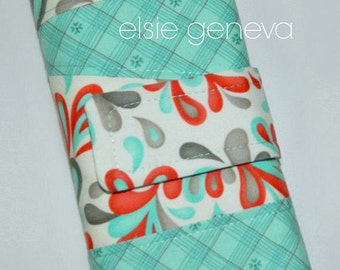 Abstract Red Orange and Aqua Swirls & Plaid Crochet  Hook Organizer Red Aqua Optional Personalize / Monogram