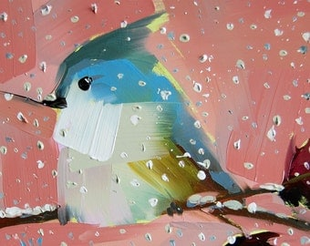 Tufted Titmouse no. 35 Bird Art Print by Angela Moulton 6 x 6 inch or 8 x 8 inch
