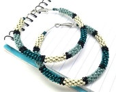 Teal Turquouise Seed Bead Wire Wrap Hoop Earrings, Trendy Contemporary Gift Ideas for Best Friends, Large Color Block Jewelry for Coworker