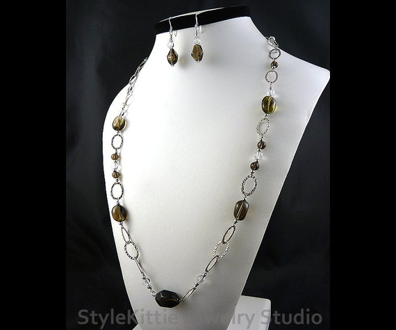 Smoky Quartz, Clear Crystal Quartz, Endless Necklace, Dangle Earrings, 925 Sterling Silver, Textured Links, Gemstone, Two Piece Set, Jewelry