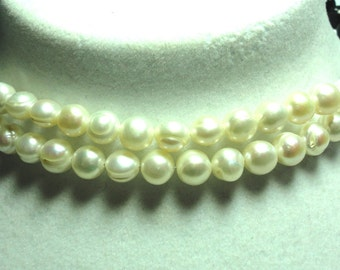 Pearl Choker Necklace 2 Strands of Baroque Pearls and Black Onyx Choker Necklace with Sterling