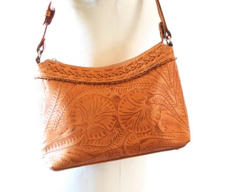 Vintage Tooled Leather Bag- Handmade in Paraguay by American West