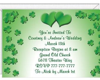 Lucky In Love Wedding Invitations -- personalized -- with envelopes.  Wedding invitations-party invitations.  Standard Postage.  (53285)