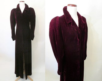 Breathtaking 1930's Burgundy Silk Velvet Long Dramatic Opera Coat Old Hollywood Glamour Starlet Pinup Girl Art Deco Size-Medium
