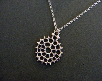 Net necklace, silver necklace, Ernst Haeckel