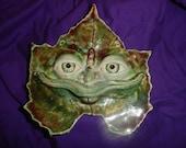 Grape leaf man handmade stoneware