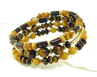 RESERVED Brown Tiger Eye Gold Wrap Bracelet, Beaded Memory Wire Gemstone Bracelet